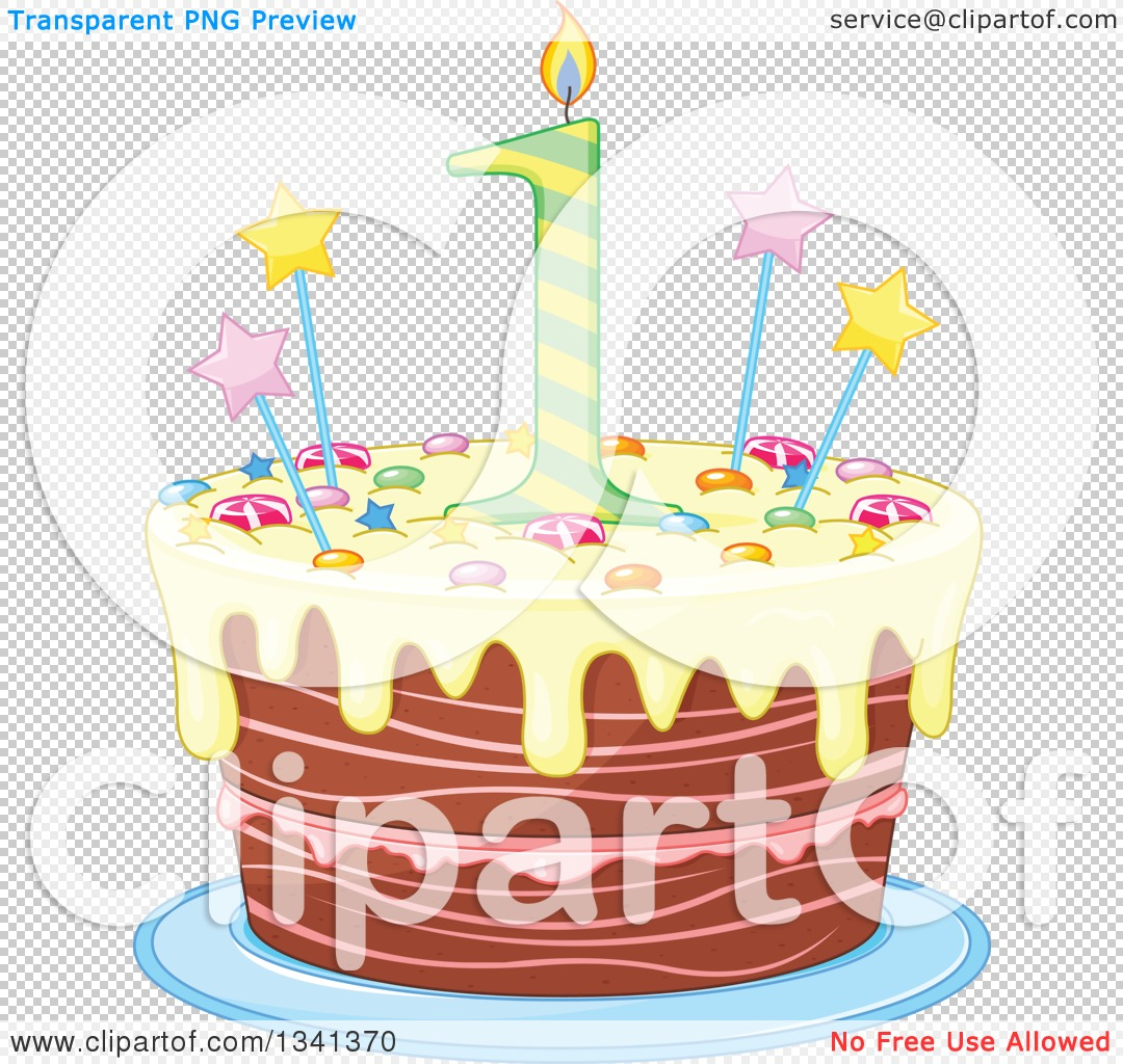 Yellow birthday cake clipart vector freeuse download Clipart of a First Birthday Cake with a Number Candle, Stars ... vector freeuse download