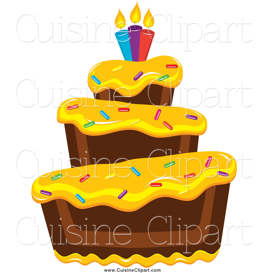 Yellow birthday cake clipart vector black and white Royalty Free Stock Cuisine Designs of Birthday Cakes vector black and white