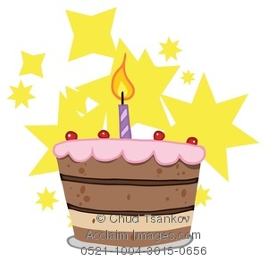 Yellow birthday cake clipart clipart black and white Clipart Image of Yellow Stars Behind a Chocolate Birthday Cake ... clipart black and white