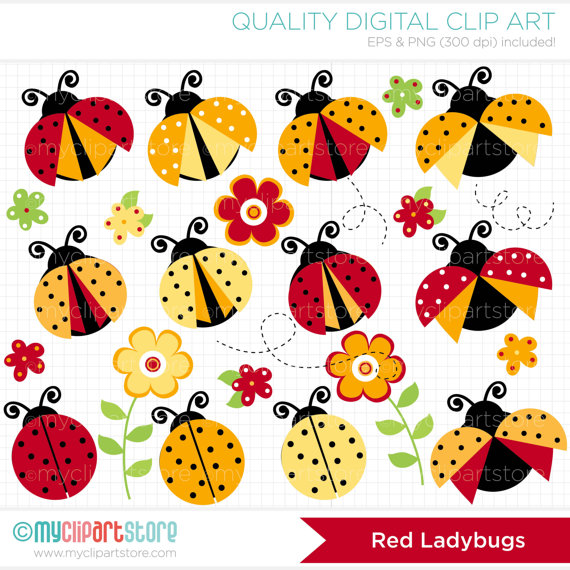 Yellow bug clipart svg free Clipart - Red & Yellow Ladybugs - Digital Clip Art (Instant ... svg free