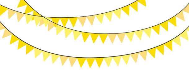 Yellow bunting clipart jpg royalty free stock Solid Color Yellow Bunting Banner Clipart Pack jpg royalty free stock