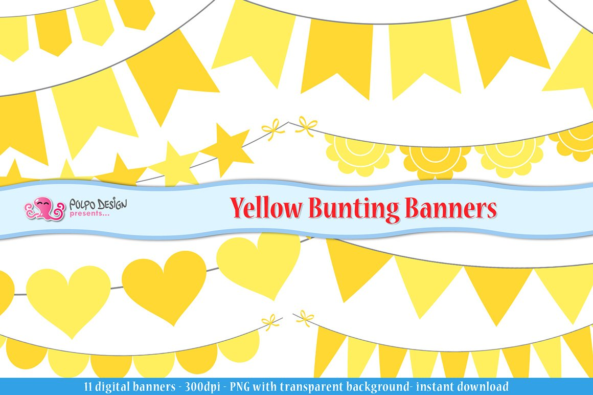 Yellow bunting clipart transparent Yellow Bunting Banners clipart transparent