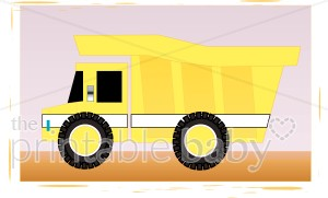 Yellow dump truck clipart vector black and white library Yellow Dump Truck Clipart | Baby Vehicle Clipart vector black and white library