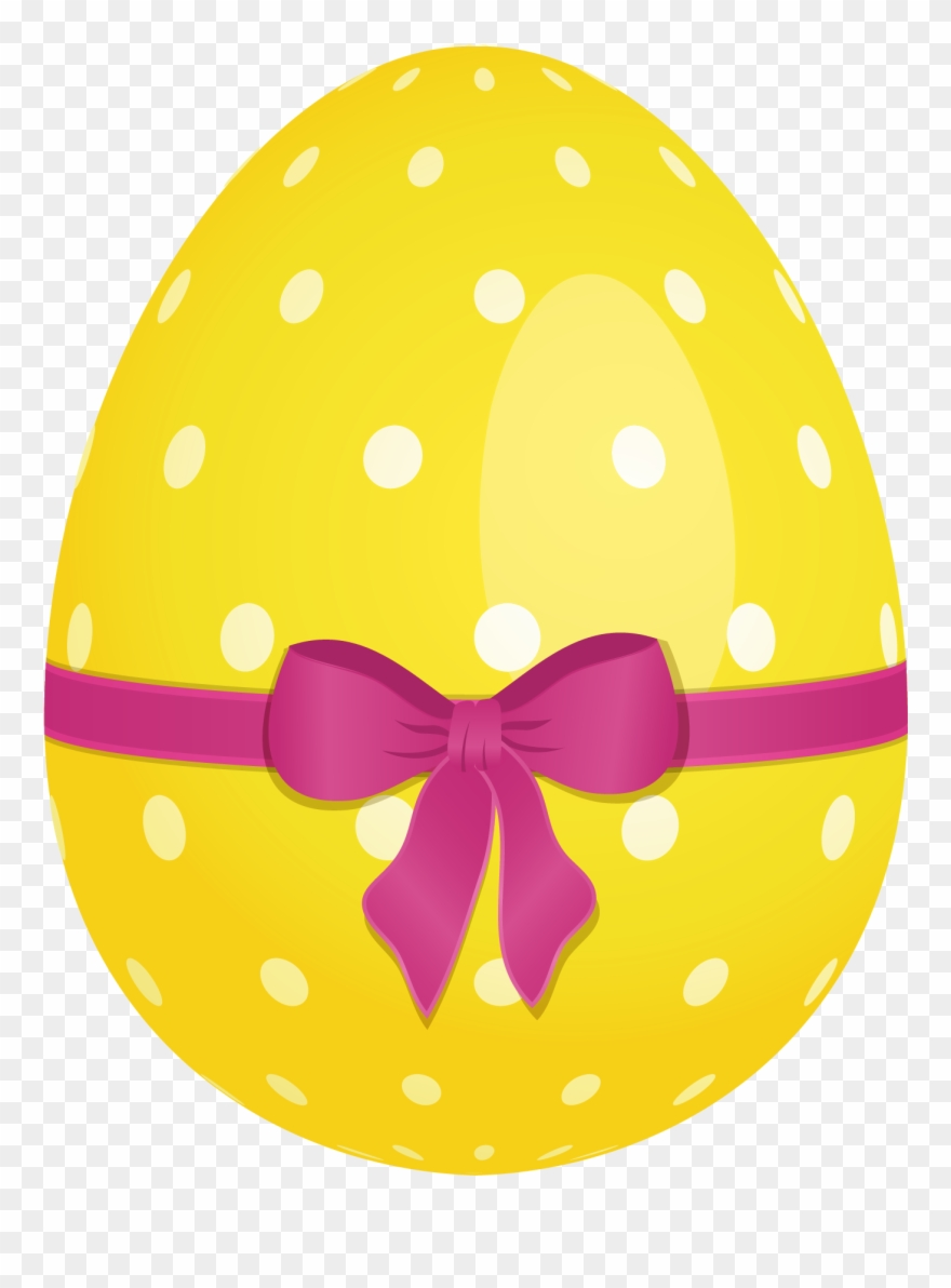 Yellow easter egg clipart png freeuse Yellow Dotted Easter Egg With Pink Bow Png Clipartu200b ... png freeuse