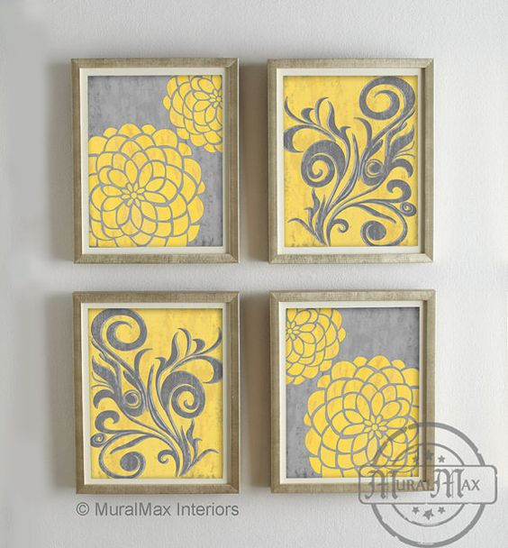 Yellow flower artwork graphic transparent library Yellow and Gray Dahlia Flower Artwork Set of 4 Wall Art - Vintage ... graphic transparent library