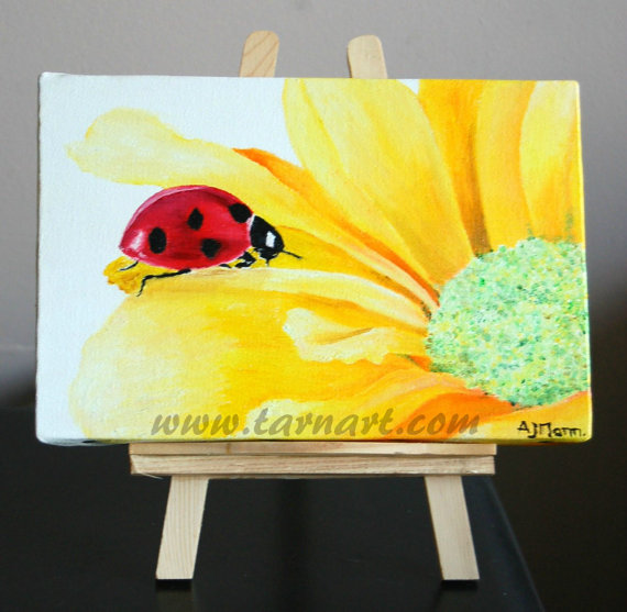 Yellow flower artwork black and white Floral canvas art. Cute animal art.Yellow flower art. Art oil black and white