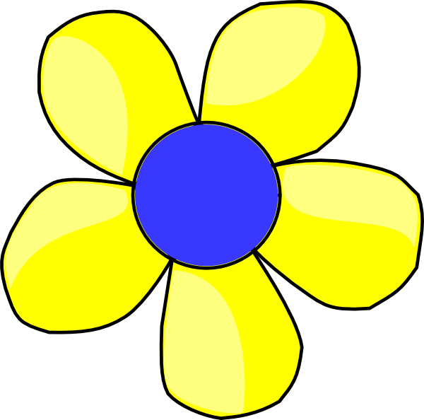 Yellow flower border clipart clip art black and white Blue And Yellow Flower Shaded Clip Art at Clker.com - vector clip ... clip art black and white