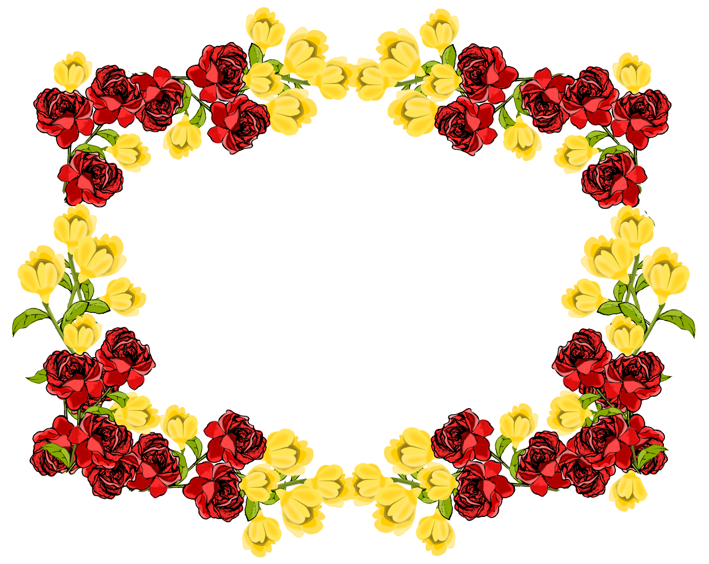 Yellow flower border clipart clip art free download Red And Yellow Flower Frame Png - 5611 - TransparentPNG clip art free download