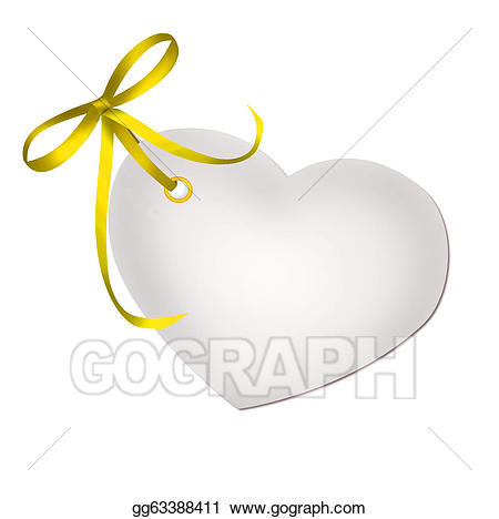 Yellow gift tag clipart picture library stock Clipart - Heart blank gift tag with yellow ribbon bow ... picture library stock