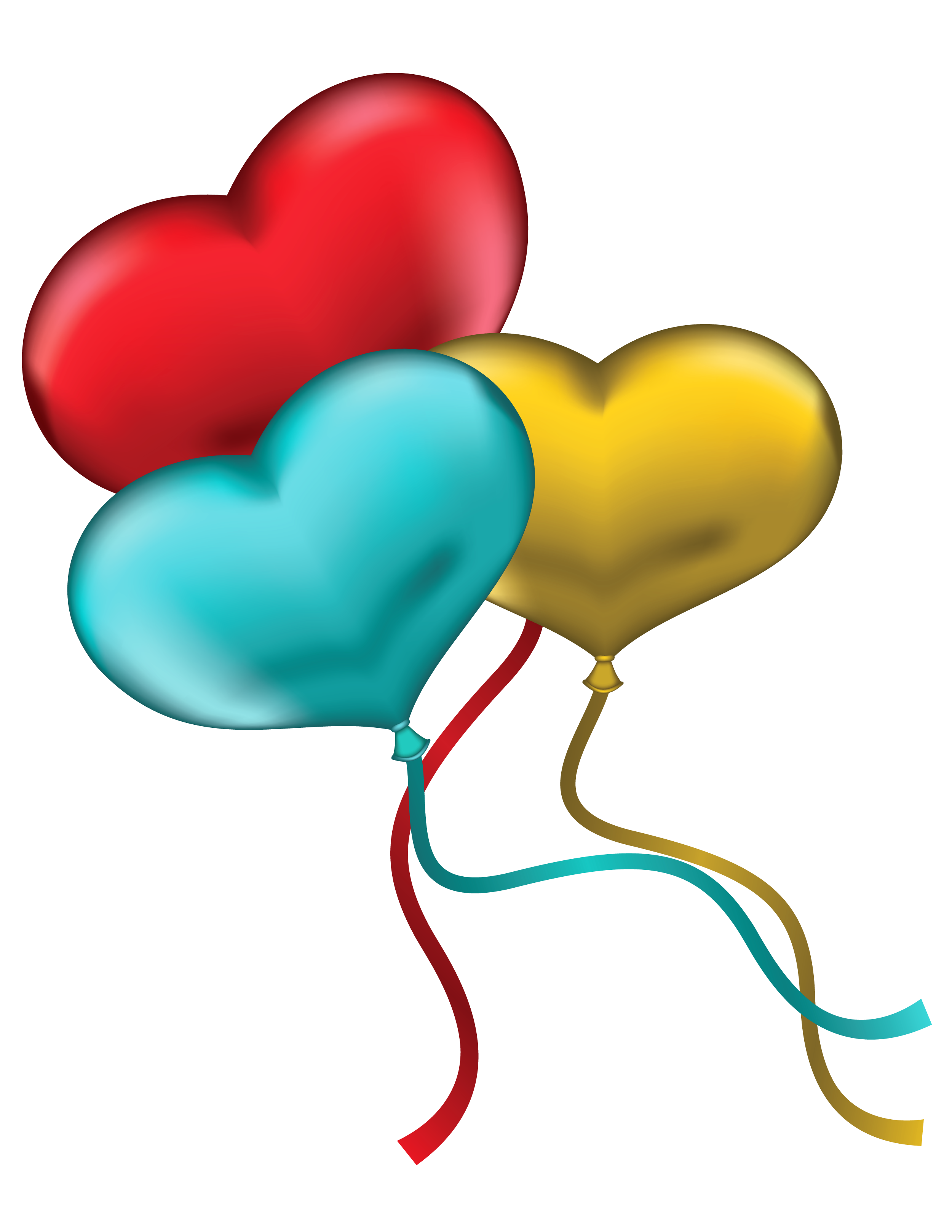 Yellow heart balloon clipart clipart black and white library Red Blue and Yellow Heart Balloons PNG Clipart Picture ... clipart black and white library