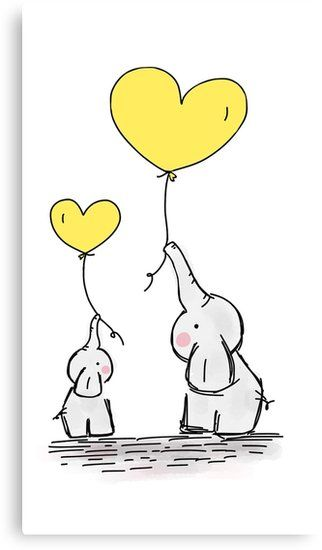 Yellow heart balloon clipart image black and white stock Canvas Print Elephant with Yellow Heart Shaped Balloon ... image black and white stock
