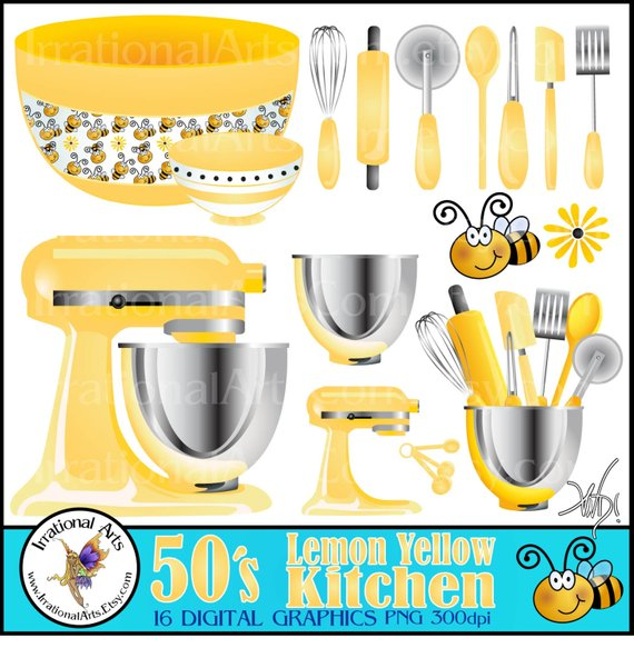 Yellow kitchen clipart clipart library library 50\'s Lemon Yellow Kitchen INSTANT DOWNLOAD Digital Clipart ... clipart library library