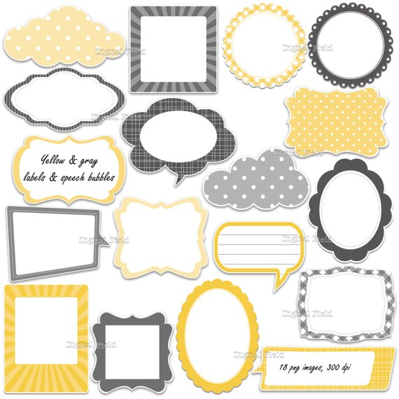 Yellow label clipart image library stock Yellow and gray labels - frames and speech bubbles clip art ... image library stock