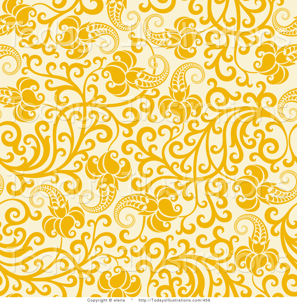 Yellow wallpaper clipart clipart download Clipart of a Yellow Flowers with Curling Vines on a Pale ... clipart download