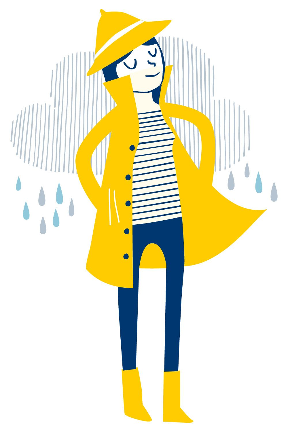 Yellow raincoat 1950s clipart picture transparent stock Yellow rain coat illustration by Elly Jahnz for Seasalt ... picture transparent stock