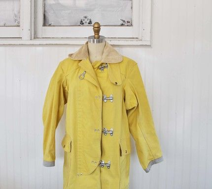Yellow raincoat 1950s clipart clip library download Vintage SUNNY YELLOW Fishermans Coat by MariesVintage on ... clip library download