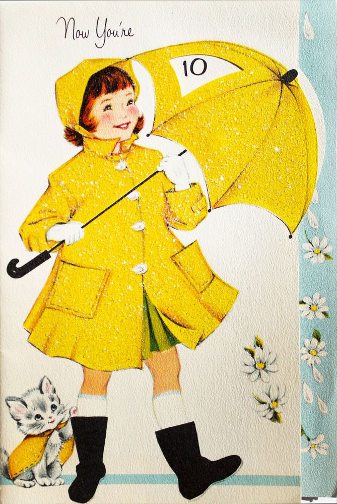 Yellow raincoat 1950s clipart picture black and white stock Details about Vintage Birthday Greeting Card Girl Pink ... picture black and white stock