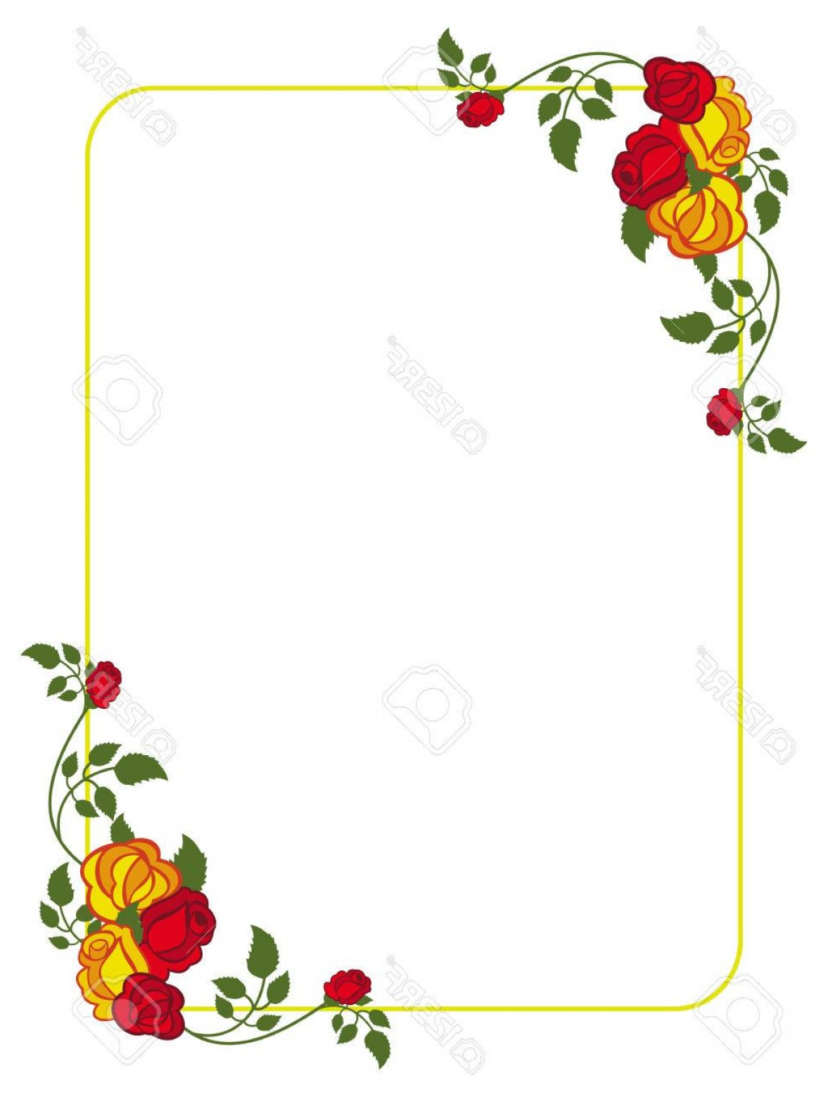 Yellow rose frame clipart vector free library Photostock Vector Vertical Frame With Red And Yellow Roses ... vector free library