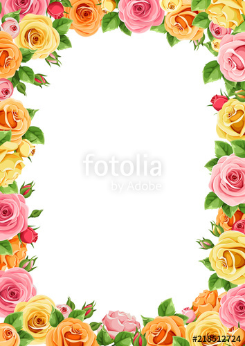 Yellow rose frame clipart clip art black and white library Vector frame with pink, orange and yellow roses.\