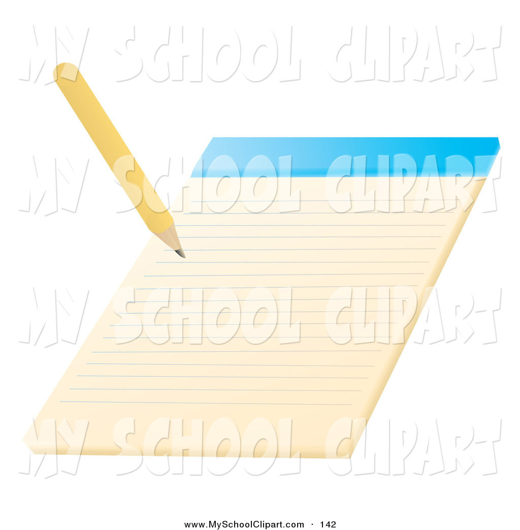 Yellow school notepad clipart picture freeuse stock Clip Art of a Yellow Pencil Writing on a Notepad School ... picture freeuse stock