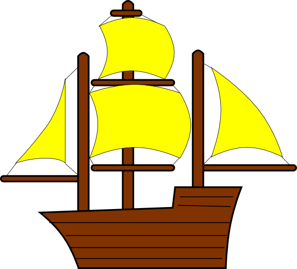 Yellow ship clipart svg black and white library Yellow Pirate Ship Clip Art at Clker.com - vector clip art ... svg black and white library