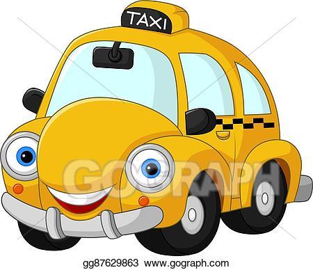 Yellow taxi clipart image transparent Vector Art - Cartoon funny yellow taxi. Clipart Drawing ... image transparent