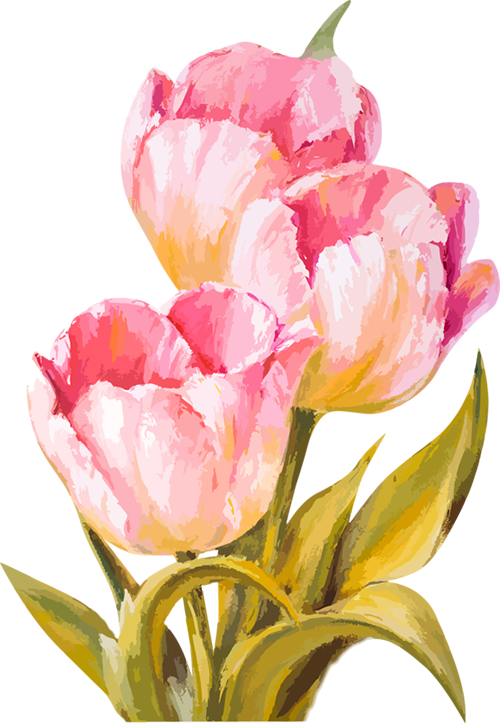 Yellow watercolor stitched flowers clipart image library download tubes fleurs | Watercolor in 2019 | Tulip painting ... image library download
