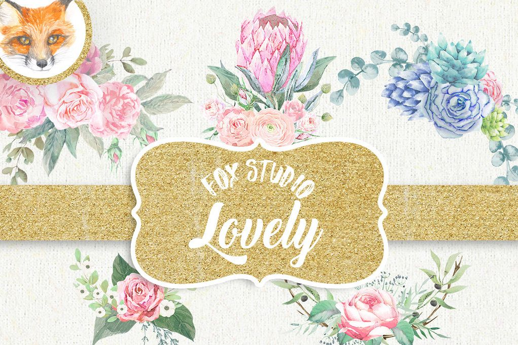 Yellow watercolor stitched flowers clipart graphic library Floral Watercolor clipart, flower clipart, pink clip art graphic library