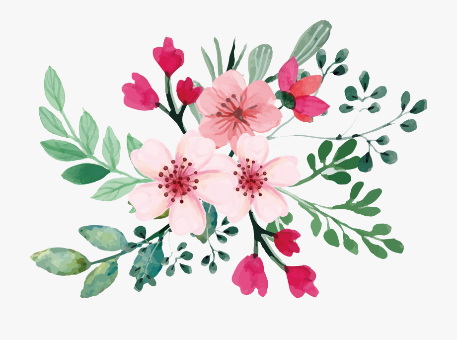 Yellow watercolor stitched flowers clipart vector transparent stock Romantic Watercolor Cherry Blossom Bouquet 36982592 ... vector transparent stock
