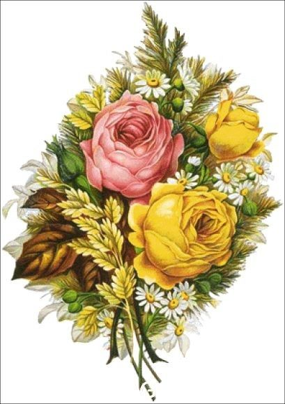 Yellow watercolor stitched flowers clipart clip download Yellow and Pink Roses | Art roses | Pinterest | Cross stitch ... clip download