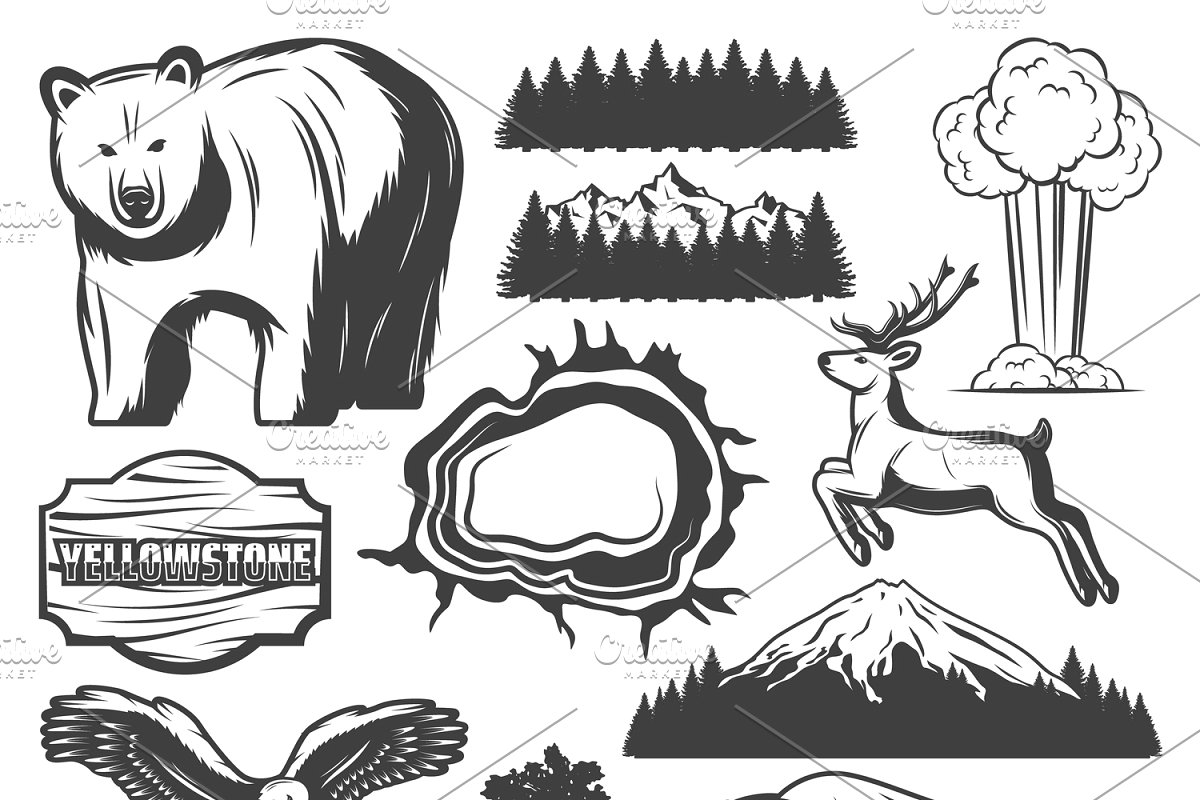 Yellowstone mountain clipart silhouette banner black and white download Yellowstone National Park Elements banner black and white download