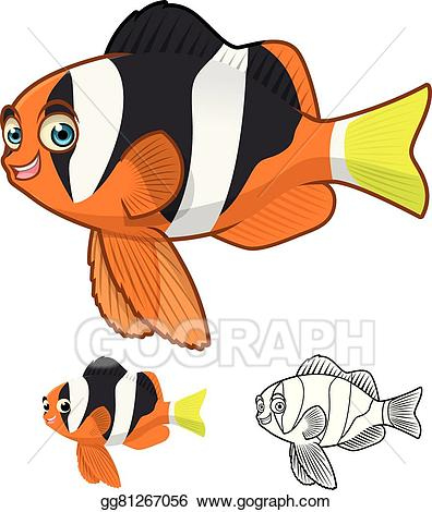 Yellowtail clipart picture freeuse library Vector Art - Yellowtail clownfish cartoon. Clipart Drawing ... picture freeuse library