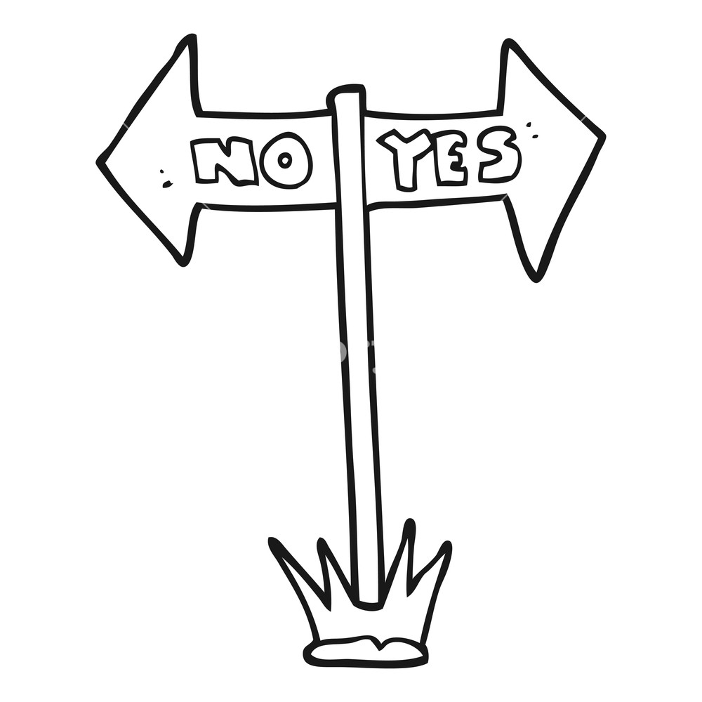 Yes or no black and white clipart image free download freehand drawn black and white cartoon yes and no sign ... image free download