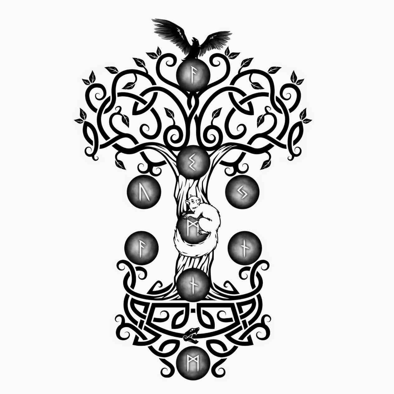 Yggdrasil tattoo clipart png Norse Tattoos Yggdrasil | Tattoo | Yggdrasil tattoo, Norse ... png