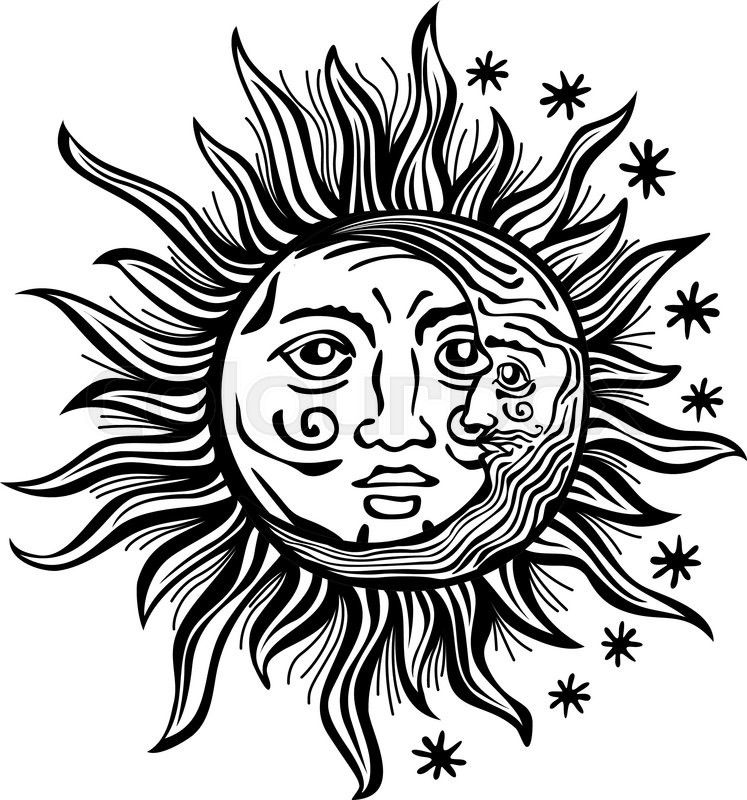 Yin yang sun and moon transparent clipart clipart freeuse download An etched-style cartoon illustration of a sun, moon, and ... clipart freeuse download