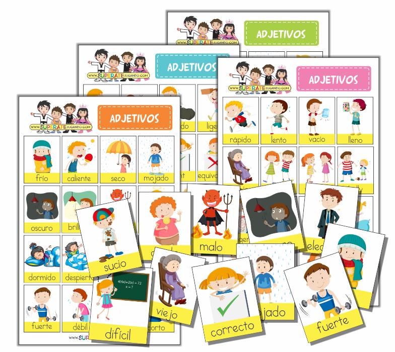 Yo soy delgado clipart clip art Adjectives Bingo in Spanish to Print clip art