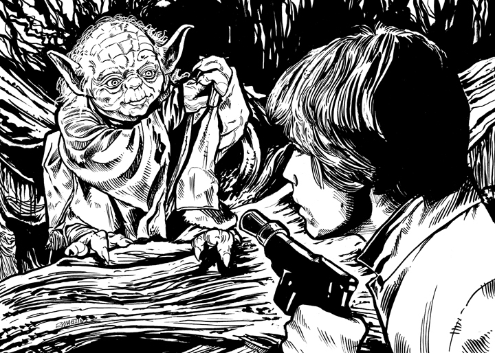Yoda and the empire strikes back black and white clipart transparent ORIGINAL ILLUSTRATION Star Wars Illustrated: ESB-Card #55 Meeting Yoda from  Randy Martinez Art Store transparent