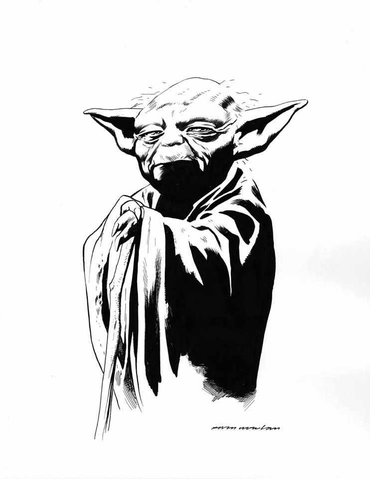 Yoda and the empire strikes back black and white clipart clip art library library Star Wars - Yoda by Kevin Knowlan * | Star Wars Art & Other ... clip art library library