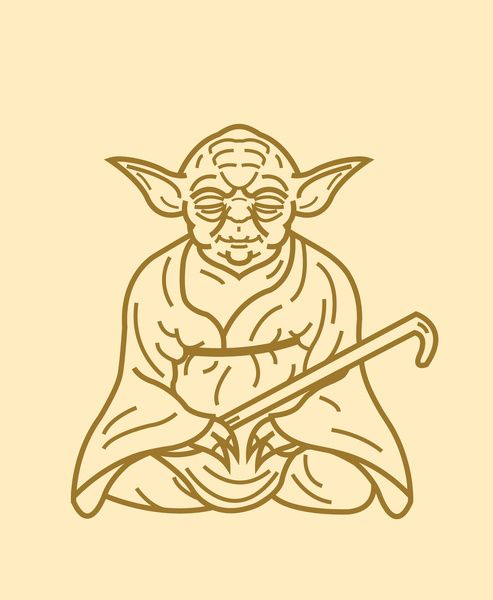 Yoda buddha clipart jpg black and white library Yoda Art Print   Star Wars Illustrations   Disney tattoos ... jpg black and white library