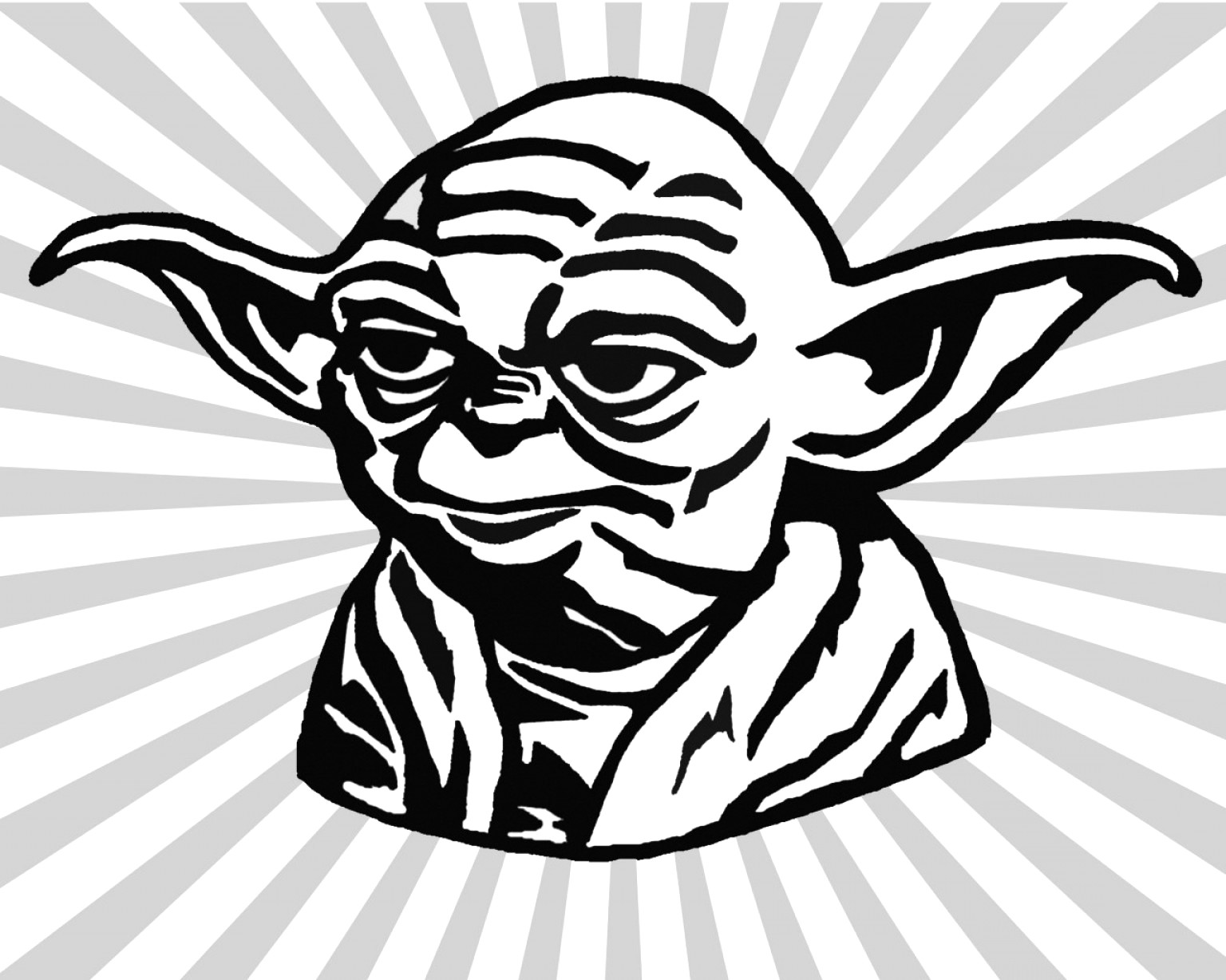 Yoda clipart black and white