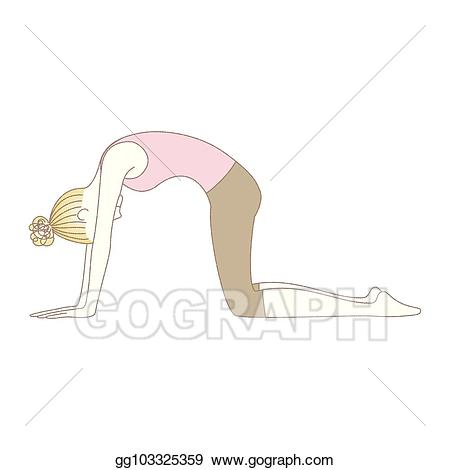 Yoga cat pose clipart clip EPS Vector - Yoga pose, woman in cat pose. Stock Clipart ... clip