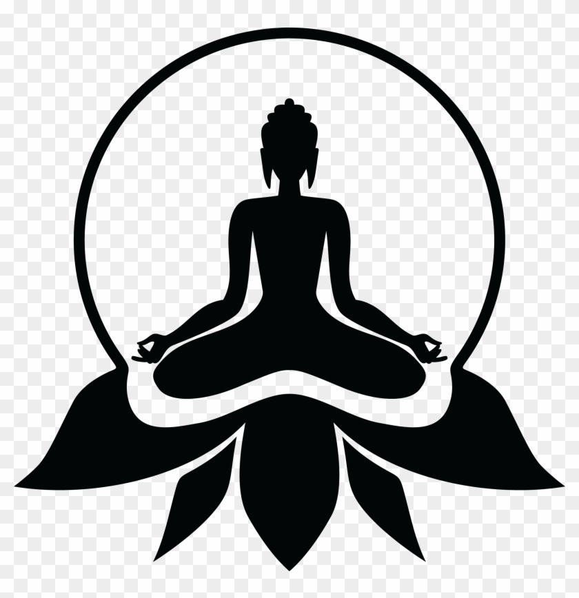 Yoga clipart logo clip art black and white download Logo Clipart Yoga - Lord Buddha Black And White, HD Png ... clip art black and white download