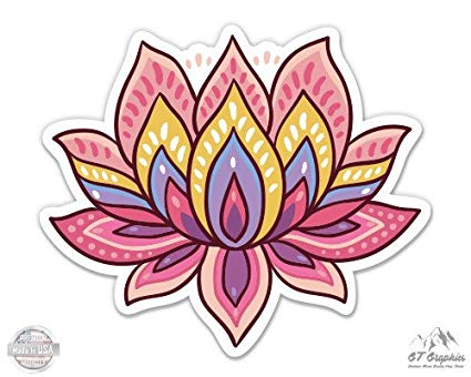 Yoga lotus flower clipart svg black and white download Lotus Flower Cute Om Yoga Meditation - Vinyl Sticker Waterproof Decal svg black and white download