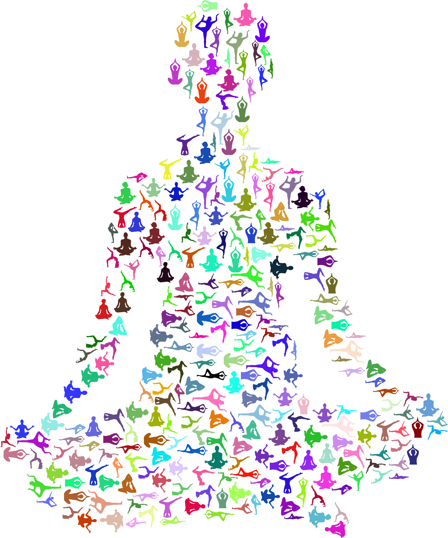 Yoga tree pose clipart png freeuse Clipart - Prismatic Female Yoga Pose Silhouette Fractal No Background png freeuse