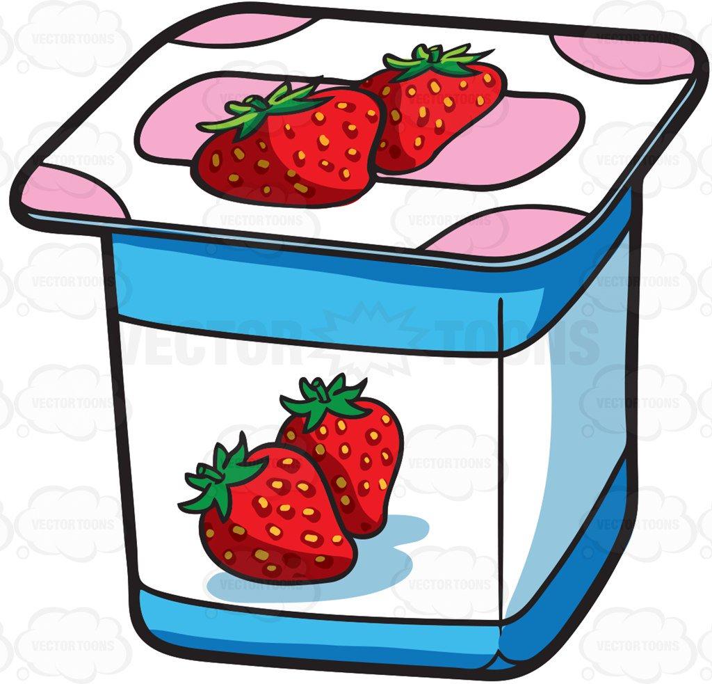 Yogurt clipart free image royalty free library Cartoon Clipart: A One Serving Strawberry Yogurt For Sale ... image royalty free library