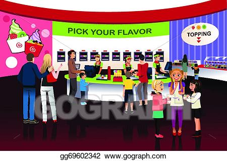 Yogurt shop clipart clipart royalty free EPS Illustration - People in a yogurt ice cream store ... clipart royalty free