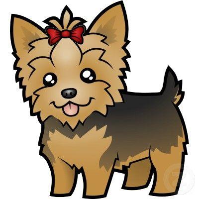 Yorkie clipart long hair jpg library stock Cartoon Yorkshire Terrier (short hair with bow) Cutout ... jpg library stock