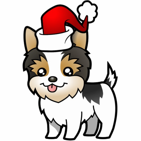 Yorkie with a cast clipart jpg royalty free library Christmas Yorkie (short hair parti) Cutout jpg royalty free library