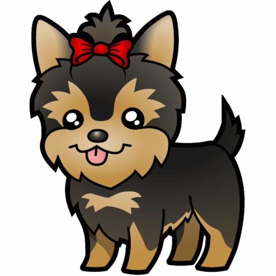 Yorkie with a cast clipart image Cartoon Yorkie (puppy with bow) Cutout image