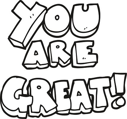 You are great clipart vector royalty free library You Are Great Black and White Cartoon Symbol premium clipart ... vector royalty free library